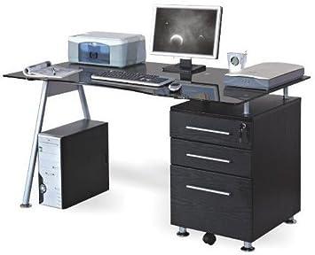 Hjh office 673945 bureau table informatique nero caisson à