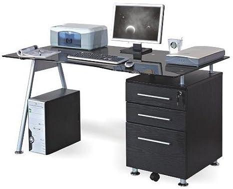 Scrivania tavolo per computer nero nero nero vetro argento con