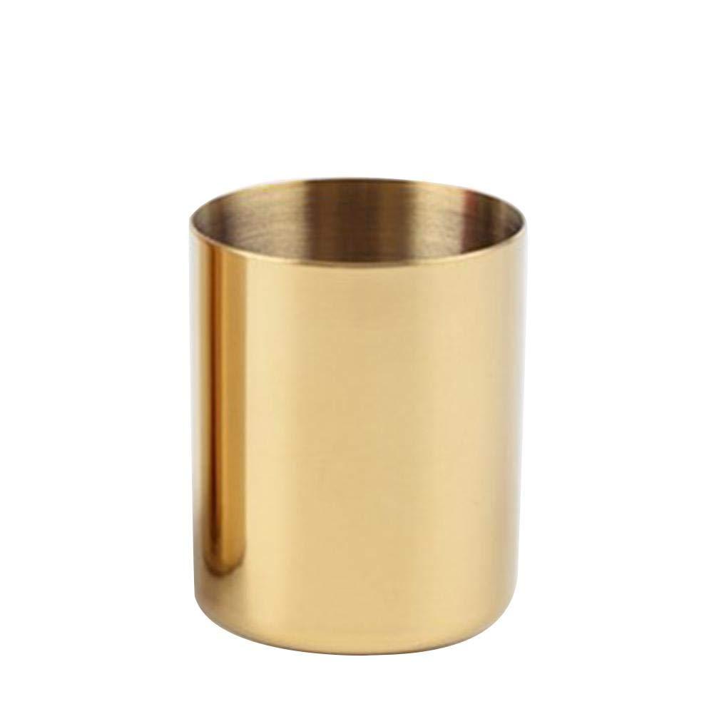 Haodou Soporte para pluma de vidrio Tubo de almacenamiento de escritorio Cepillo de belleza dorado Maquillaje de brocha de maquillaje Barril de lat/ón Inserto simple Jarr/ón Caja de almacenamiento