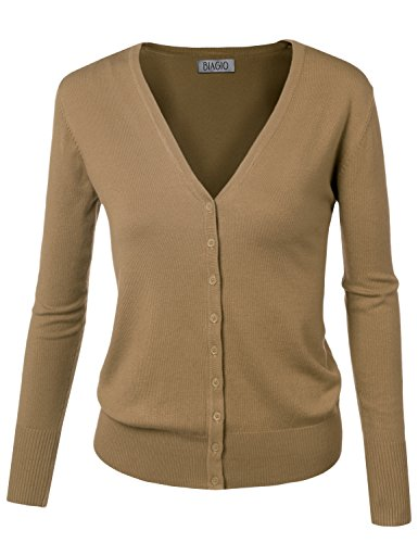 Beige Womens Cardigan (BIADANI Women Button Down Long Sleeve Soft V-Neck Cardigan Sweater Khaki Medium)