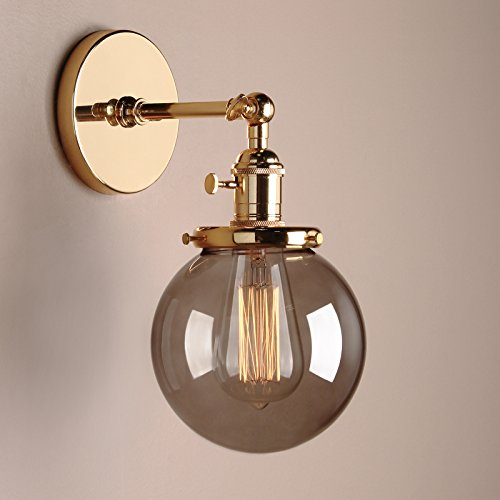 Retro Sconce Industrial Wall Light Grey Glass Globe Gold