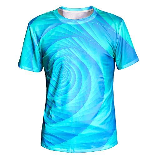 (Asylvain Unisex Classic Sky Blue Design 3D Digital Print Short Sleeve T Shirt for Men and Women, X-Large)