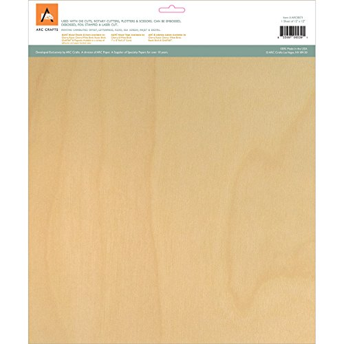 "Arc Crafts BARC Wood Sheet W/Adhesive Backing 12""X12"", White Birch"