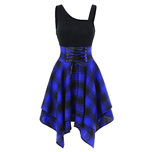 Plaid Mini Dress for Women Ladies Tartan Print Irregular Retro Loose Swing Dress High Waist Cocktail Party Lace Up Asymmetrical Hem Skirt Dress (2XL, Blue)