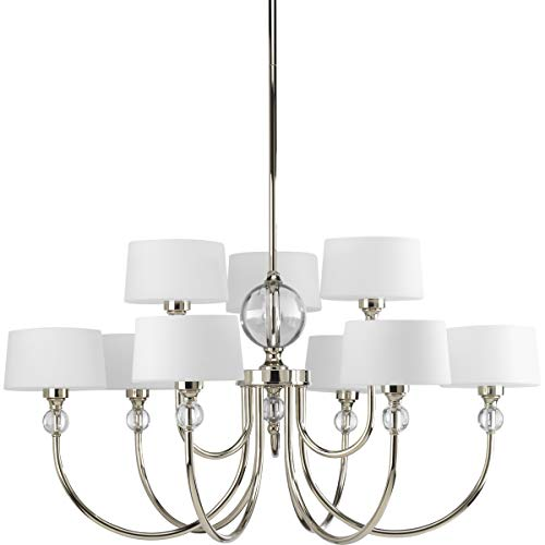 Progress Lighting P4675-104 Fortune Collection 9-Light Chandelier, Polished Nickel