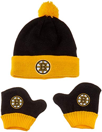 (OTS NHL Boston Bruins Pow Knit Cap & Mittens Set, Black, Infant)