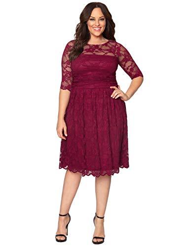 Kiyonna Women's Plus Size Luna Lace Cocktail Dress 2X Rose Wine