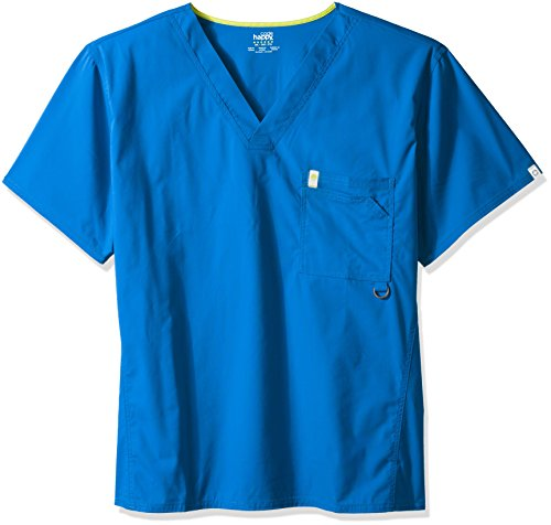 Code Happy Men's Bliss with Certainty V-Neck Scrub Top Big and Tall, Royal, XXX-Large ()