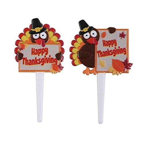 Oasis Supply Turkey Menu Board Cupcake/Cake Decorating Picks, 3-Inch, Set of (Decorating A Turkey)