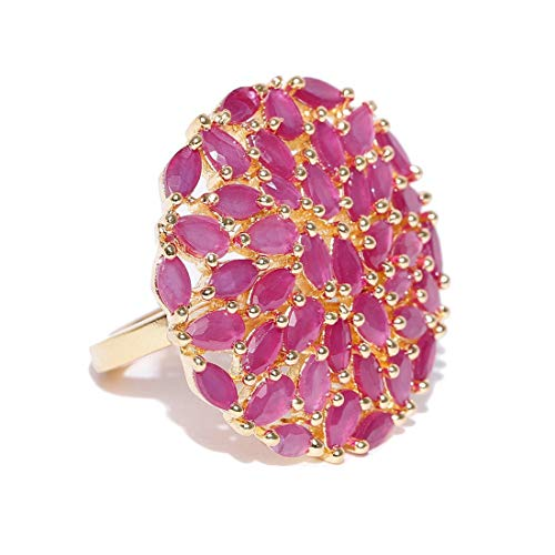 (Jewels Galaxy Elegant Pink Meenakari Delicate Design Gold Plated Traditional Adjustable Ring for Women/Girls Free Size)