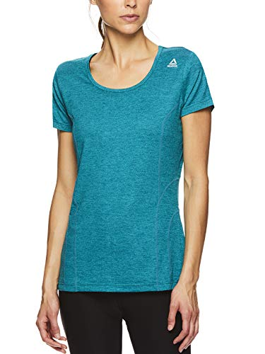 Reebok Women's Dynamic Fitted Performance Short Sleeve T-Shirt - Harbor Blue Heather, X-Small (Reebok T-shirt Tank Top)