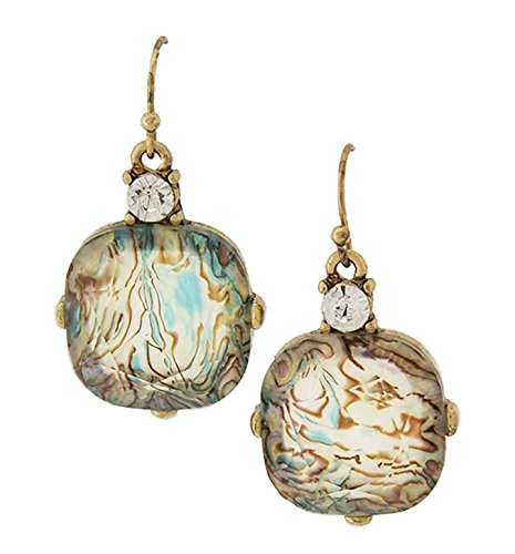 Lovely Unique Abalone and Burnished Gold Tone Statement Dangle Earrings