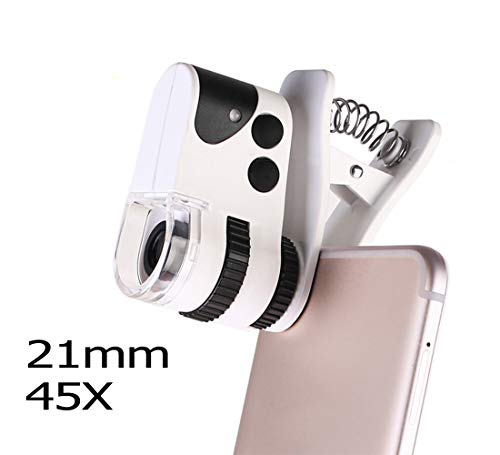 Mobile Phone Camera Lens with Universal Clip Portable Microscope with LED UV Lamp Suitable for iPhone 7/6S/6 Plus/5/4,Samsung, Android and Other Phones,21mm45X (Microscope Gem Zoom)