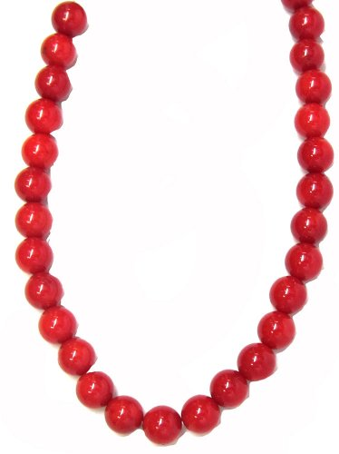 Wonderful Red Coral Necklace (Bead Collection 40332 Round Red Dyed Bamboo Coral Beads, 10-Inch)