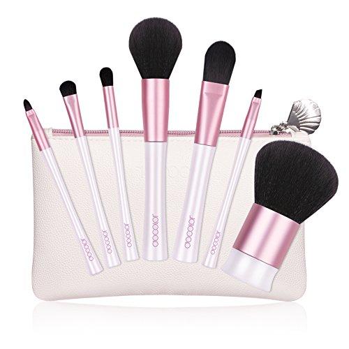 Docolor Makeup Brushes 7Pcs Makeup Brush Set Kabuki Foundation Blending Eyeshadow Brush Set With Travel Case