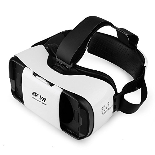 ev. 3D VR Headset, Virtual Reality Glasses for 3D Movies and Games, Adjustable Strap, Focal and Object Distance, Compatible with 4.7-5.7 Inch iPhone, Android Devices