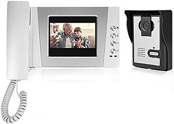 Opinión sobre 4,3 pulgadas Video Intercom - Videoportero con cable y pantalla colorida sistema de entrada de intercomunicación audio visual + Desbloqueo remoto + IR vision nocturna(EU)