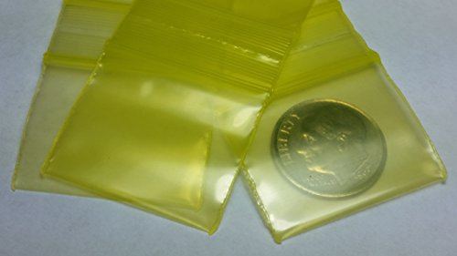 12510-S Original Mini Ziplock 2.5mil Plastic Bags 1.25″ x 1″ Reclosable Baggies (Yellow)