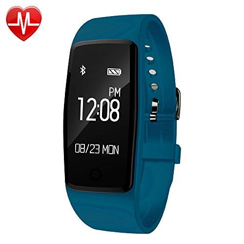 YAMAY Fitness Tracker mit Pulsmesser Uhr,Wasserdicht IP67 Fitness Armband Pulsuhren Fitnessuhr Aktivitätstracker Bluetooth Smart Armband Schrittzähler mit Herzfrequenz/ Schlafanalyse/Kalorienzähler/SMS SNS Wecker Vibration für Android und IOS Handys
