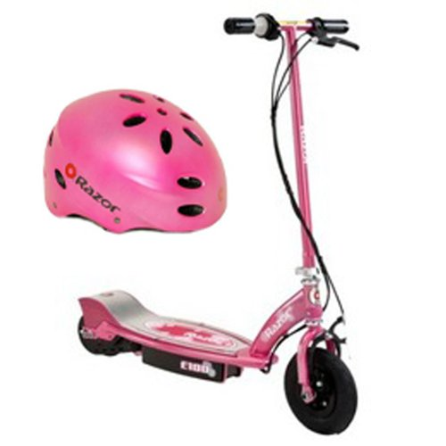 Razor E100 Electric Kids Girls Scooter (Sweet Pea) & Youth Sport Helmet - Razor E100 Scooter Electric