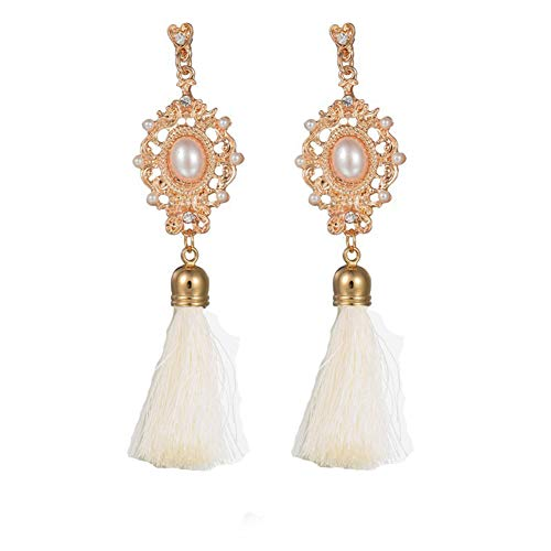 MYANAIL Retro Palace Style Simulated Pearl Long Tassel Dangle Earrings for Women Party Wedding Jewelry Accessories (White)