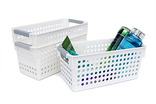 Honla Slim White Plastic Storage Baskets/Bins Organizer with Gray Handles,Set of 3 ()
