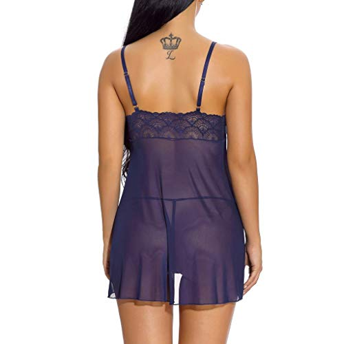 Misswongg di Sleepwear set La Sexy Lingerie Honda da notte Silk con Tunic pizzo Abito Set cravatta Blue 5tp4w8qxw