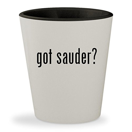 got sauder? - White Outer & Black Inner Ceramic 1.5oz Shot Glass - Cherry Hill Wine Cabinet