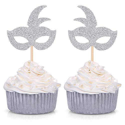 Silver Mardi Gras Mask Cupcake Toppers - Masquerade Birthday Bachelorette Party Fun Decorations 24