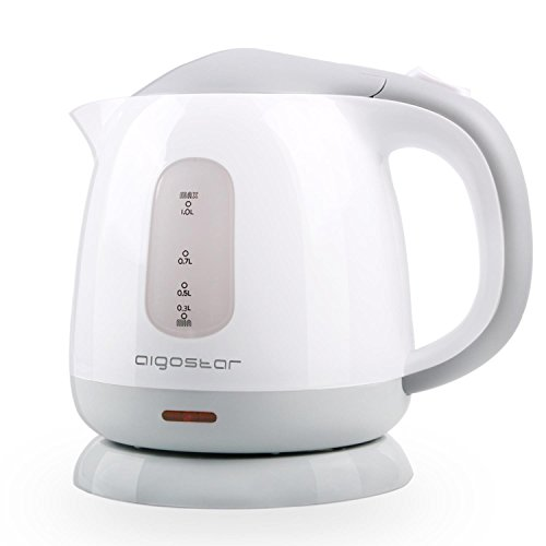 Aigostar Juliet – Mini Electric Tea Kettle, 1.0 L BPA-Free Portable Electric Water Kettle, 1100W, Grey and White