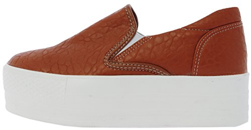 Maxstar C7 50 Synthetic Leather White Platform Slip on Sneakers Tan 8 B(M) US Womens