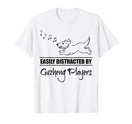 Cute Dog Easily Distracted by Guzheng Players T-Shirt