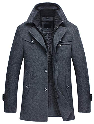 - Youhan Men's Winter Wool Blend Car Coat with Detchable Bib (Large, Gray)