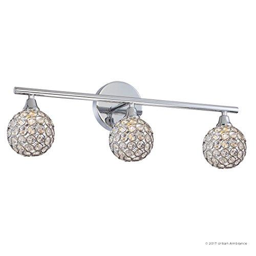 Luxury Crystal Globe LED Bathroom Vanity Light, Medium Size: 8''H x 23''W, with Modern Style Elements, Polished Chrome Finish and Crystal Studded Shades, G9 LED Technology, UQL2631 by Urban Ambiance by Urban Ambiance (Image #7)