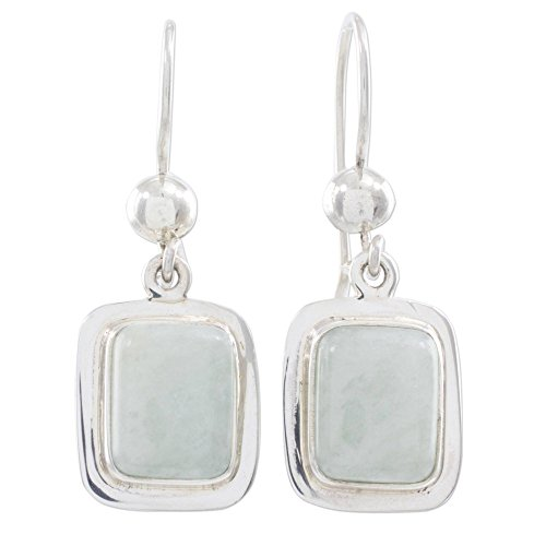 (NOVICA Light Green Jade and .925 Sterling Silver Dangle Earrings, Maya Mint')