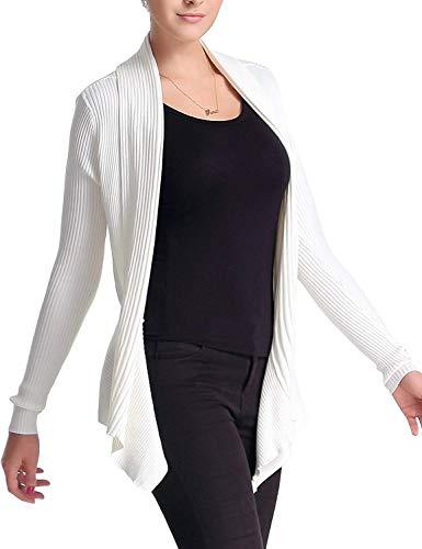 Manica Cappotto Giacca Marca Fashion A Mode Colore Puro Bianca Outerwear Moda Lunga Confortevole Eleganti Donna Grazioso Maglia Casuale Di YYzrqZ