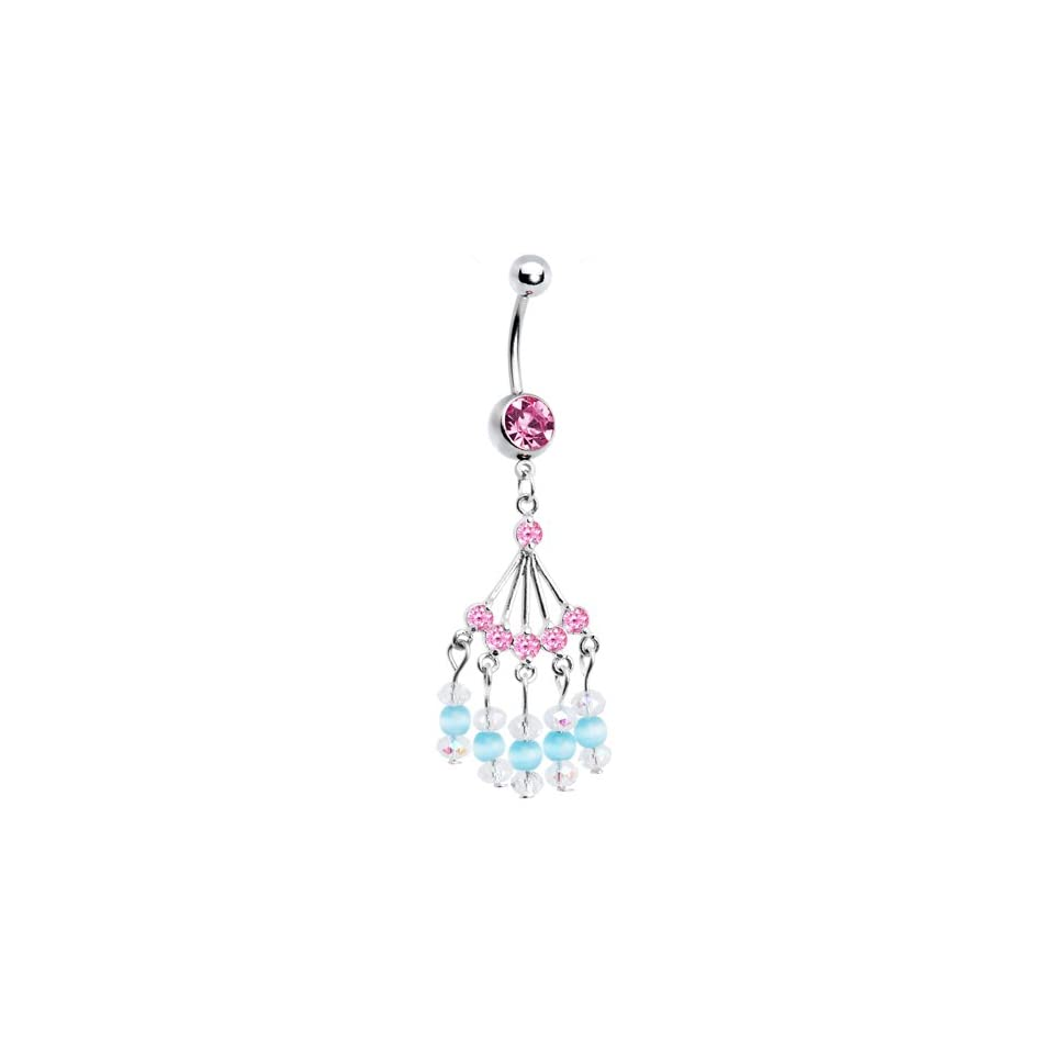 Pink Gem Natasha Chandelier Belly Ring