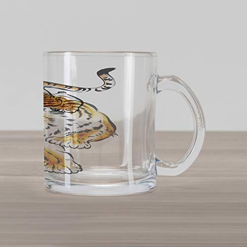 (Ambesonne Tiger Glass Mug, Japanese Inspired Large Feline Japanesque Design Free Hand Drawing Traditional, Printed Clear Glass Coffee Mug Cup for Beverages Water Tea Drinks, Black Pale Brown)
