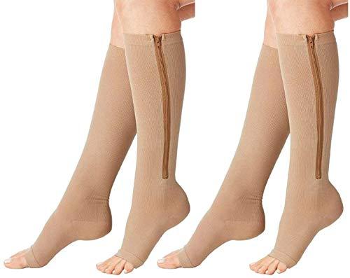 MojaSports Compression Zipper Socks BEST Graduated Athletic & Medical Use for Men & Women for Running, Flight, Travel, Nurses - Boost Performance, Blood Circulation & Recovery (ZipNude, XXL, 2Pr)