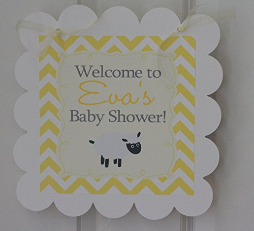Lamb Yellow White Grey Baby Shower Door Sign Hanger - Matching Items Available - Favor Tags, Banners, Cupcake Toppers (Lamb Door Hanger)