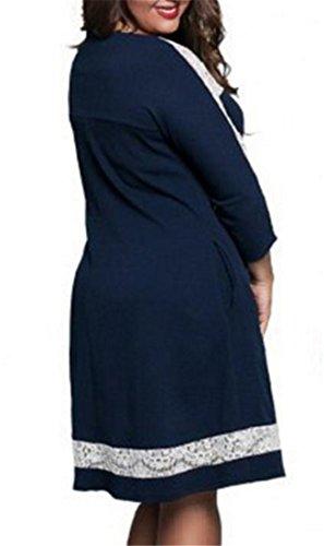 Blue 4 Crewneck Sexy 3 Cromoncent Dark Women's Lace Dress Stitching Midi Sleeve fxXPfgqwn
