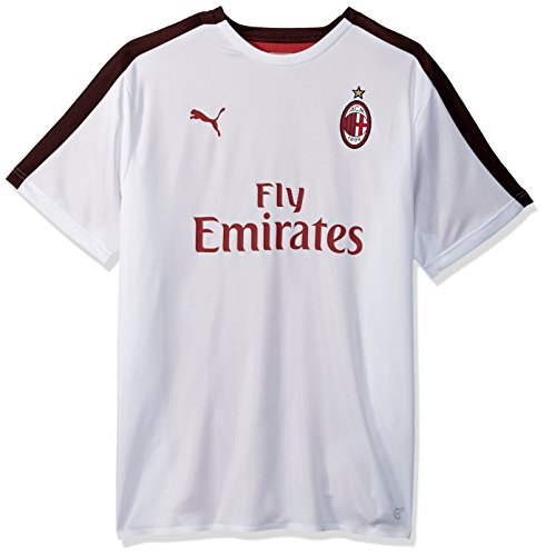 PUMA Men's AC Milan Stadium Jersey SS with Sponsor, White Black, XXL - Ac Milan White Jersey