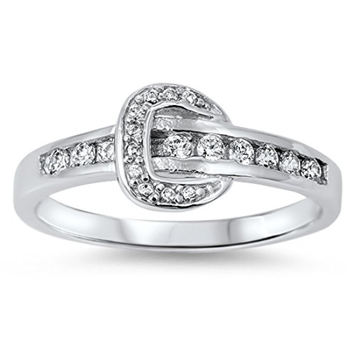 Cubic Zirconia Belt Buckle (Buckle Ring Belt Ring Belt Buckle Cute Ring Round Cubic Zirconia 925 Sterling Silver 4-10)