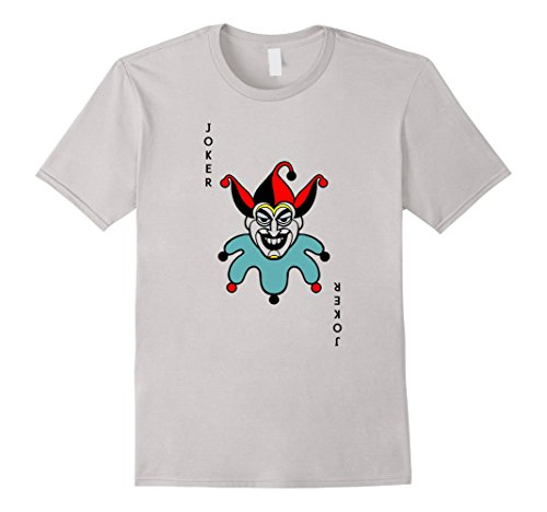 Men's Joker Playing Card Costume Shirt - Old Joker Medium Silver (Playing Card Joker Costume)