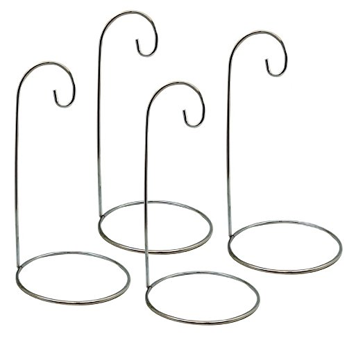 BANBERRY DESIGNS Ornament Stands - Set of 4 Silver Christmas Holders - Chrome Finished Metal 11-Inch Tall - Air Plant Terrarium - Christmas Ornament Collection Display
