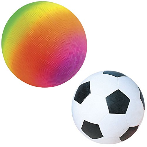 Kickball Set - One 18 inch Large Rainbow Kickball And One 14 inch Rubber Soccer Ball - Fun Playground Equipment And Accessories for Kids and Adults