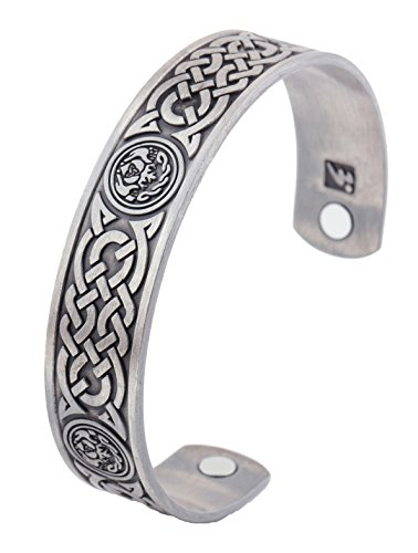 Magnetic Therapy Bracelet Irish Totem Celtic Knot Health Care Wicca Bangle (Antique Silver) (Celtic Bracelet)