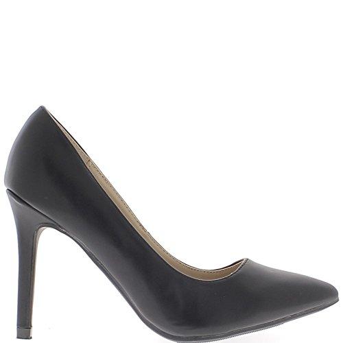 Zapatos negros con puntas de 10cm de tacón fino aguda mirada de cuero