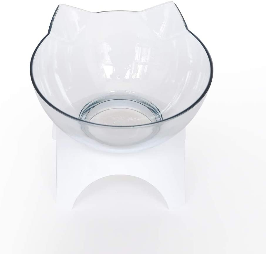 Sadomlover Cat Dog Bowls with Raised Stand Cat Food Water Feeder Bowls - 15° Tilted Elevated Pet Bowl Stress-Free Suit for Cats and Small Dogs