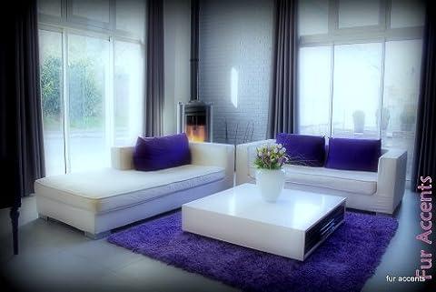 Fur Accents Shaggy Faux Fur Area Rug / Purple Sheepskin Accent Carpet / 5' X 8' Rectangle (Fox Fur Rug)